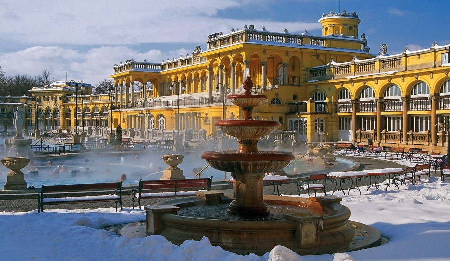 winter at széchenyi thermal bath in budapest